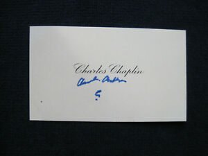 ORIGINAL AUTOGRAPH VISITING CARD SIGNED by CHARLES CHAPLIN - LATE IN HIS LIFE