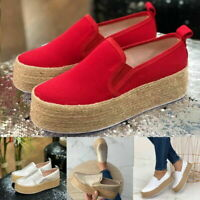 Womens Loafers Pumps Casual Slip On Platform Trainers Flats Sneaker Canvas Shoes