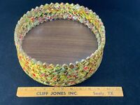 """Folk Art Boho 10"""" Bowl Made from Intricately Folded & Woven Playing Cards OOAK"""