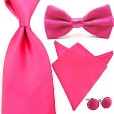 Men Satin Bowtie Wide Neck Tie Handkerchief Hanky Pocket Square Cuff Link Set