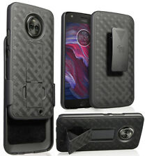 Black Kickstand Case Cover + Belt Clip Holster Combo for Motorola Moto X4, 2017