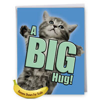 J6614AGWG Jumbo Get Well Card: Cat A Big Hug - Featuring Cats  greeting cards