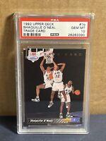 1992 UPPER DECK 1b SHAQUILLE O'NEAL PSA 10 TRADE CARD Rookie #1 Draft Pick Shaq