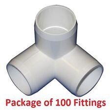 "1-1/4"" Furniture Grade 3-Way Corner Elbow PVC Fitting - 100 Pack"