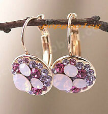 18K rose Gold GP purple Austria drills Crystals mickey Earrings free shipping