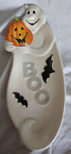 Fitz & and Floyd Halloween Boo Elongated Tray NEW in Box Ghost Dish