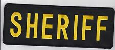 SHERIFF Back Patch, Gold on Blk with full hook back for fuzzy side,  11 x 4