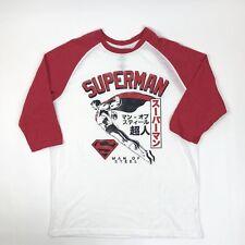 Superman Men's Baseball 3/4 Sleeve T-shirt White Red Medium DC Comics Japanese