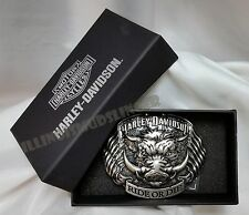 Men's Harley Davidson Buckle Hog Ride or Die with Dual American Flags