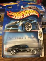 Hot Wheels 2004 First Edition '69 Dodge Charger Hood Opens-Black w/Flames #002