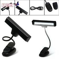White 10 LED Flexible Reading Music Stand Light+USB Cable Clip-On Orchestral