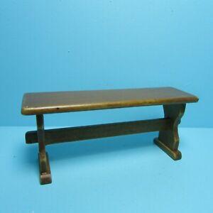 Dollhouse Miniature Wood Walnut Bench T6837