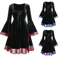Women's Plus Size Halloween Lace Up Patchwork Long Sleeve Cocktail Party Dress