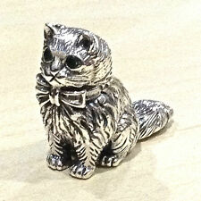 COLLECTABLE VICTORIAN STYLE SITTING CAT FIGURE EMERALD EYES 925 STERLING SILVER
