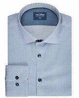 T.M.Lewin Mens Slim Fit Navy and White Geo Print Single Cuff Shirt