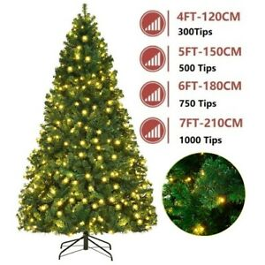Christmas Tree 1.2/1.5/1.8/2.1M 4/5/6/7FT with LED Lights Xmas Decorations Green