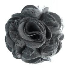 Pince à cheveux broche fleur feutrine grise dentelle cérémonie mariage