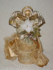 Old Fashion Angel Holding A Flower * Gold With Sparkles * 12 Inch *