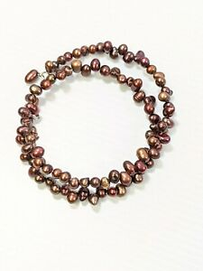 Artisan Burgundy Red Brown Baroque Pearl Memory Wire Wrap Bracelet