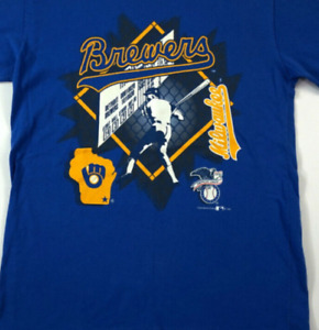 Milwaukee Brewers T-Shirt Royal Unisex Cotton Vintage Reprint size S-3XL TK1336