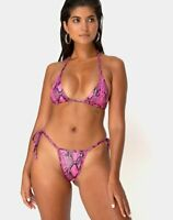MOTEL ROCKS  Talia/Ledra Bikini Set in Snake Pink Small S  (MR22)