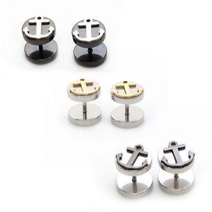Fake Ear Gauges Faux Cheater  Ear Plug Earrings With Anchor Style 16G