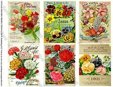 Garden Art, Seed Pack & Catalog Cover Reproductions, 12 Authentic Size Stickers
