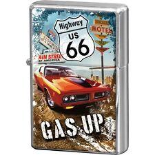 NOSTALGIE Benzinfeuerzeug ROUTE 66 - GAS UP Highway Tankstelle NEU OVP