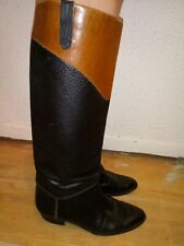 Vtg Neiman Marcus 8.5M Black/Brown Pebbled Leather Knee High Boots