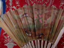 bel ancien eventail fan abanico ventaglio epoq1900  tissus peint oiseaux mesange