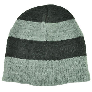 Striped Heather Gray Thin Knit Cuffless Beanie Blank Toque Plain Winter Skully