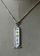 CUSTOMIZE Hieroglyphic Name ON Fascinating Silver with 18K Gold symbole Cartouch