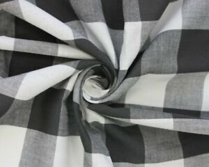 Black And White Large Gingham Cotton Checkered Fabric - Width 140CM