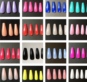 20 Extra Long Coffin Ballerina Full Cover Nails - Various Colours - UK Seller