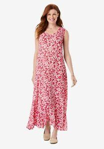 Crinkle Beach Dress Summer Maxi Dress Pink Size L 1XL 2XL 3XL 6XL #3K