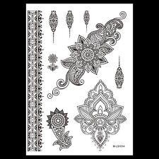 Black Henna Lotus Flower Temporary Tattoos Arms Henna Choker Tattoo Stickers