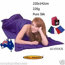 100% Pure Silk Sleeping Bag Liner & Cover for Travel Camping Double Size SBL02