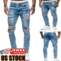 Mens Ripped Slim Skinny Jeans Casual Frayed Jogger Biker Denim Pants Trousers US