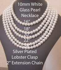 """16"""" 10mm White Glass Pearls Necklace Silvertone Lobster Clasp JA323"""