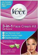 NEW Veet Womens Facial Hair Removal 3 in 1 Cream Kit Vitamin E Aloe Vera 09/2019