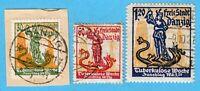 Freie Stadt Danzig 16. Okt.1921 Mi.:90 - 92 -Tuberkulose Woche Briefmarken Satz