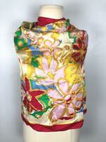 """Vintage Georges Duboeuf Bold Floral Scarf, 100% Silk, Approx. 27"""" x 27"""""""