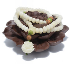 Malasation White Bodhi 108 Mala Beads Bracelet Necklace Lotus Elastic Meditation