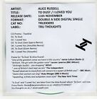(ER483) Alice Russell, To Dust / I Loved You - 2013 DJ CD