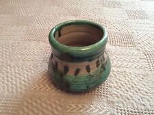 Handthrown And Painted Olive Green Pottery Vessel. Signed L. Christma 2000