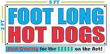 FOOT LONG HOT DOG Banner Sign NEW Larger Size Best Quality for The $$$ Fair Food
