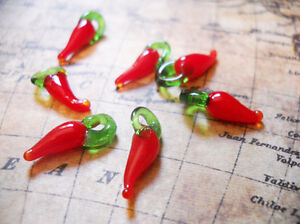 10 Chili Pepper Charms Red Chili Pepper Lampwork Glass Charms 17mm