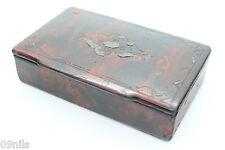 Victorian Snuff Box Papier Mache Tobacciana Collectable Faux Tortoise - Antique
