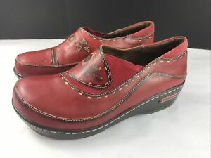 Women's Spring Step Shoes Burbank Clogs Red Leather Size US 9.5/  EU 40