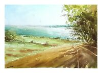 Original Aquarell Gemälde Malerei impressionistisch See Wasser Atmosphäre